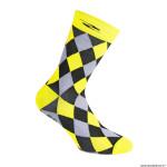 Paire de socquettes été taille 36-39 motif damier couleur jaune fluo antibacterien - hauteur 26cm