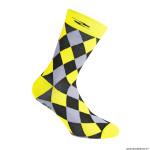 Paire de socquettes été taille 44-47 motif damier couleur jaune fluo antibacterien - hauteur 26cm