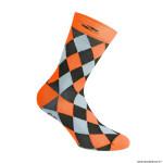 Paire de socquettes été taille 44-47 motif damier couleur orange fluo antibacterien - hauteur 26cm