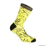 Paire de socquettes été taille 38-42 motif tatoo couleur jaune fluo - hauteur 16cm