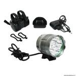 Kit éclairage vélo a batterie avant pro-3000 sur cintre 5 led 3000 lumens 3 modes couleur noir