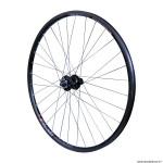 Roue vélo VTC 700x35 disc arrière m640 aluminium couleur noir moyeu pour shimano disc m745 6 trous pour cassette shimano-sram 10-9 vitesses tubetype et tubeless ready marque Vélox