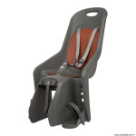 Porte bébé-siège enfant arrière à fixer sur porte bagage fixation etau bubbly maxi gris charcoal coussin marron (9 à 22kgs) marque Polisport