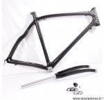 Déstockage ! Cadre de vélo 100% carbone taille L/55  Orka Team 700 course/route/cyclosportif avec fourche carbone noir-gris