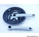 Déstockage ! Pédalier VTT Prowheel gris 20/24 plateau triple 28/38/48 + carter (axe carré)
