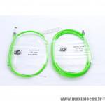Prix discount ! Transmission de frein VTT avant et arrière gaine vert fluo/câble inox