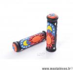 Prix discount ! Poignée grip pour VTT/BMX noir et orange (vendu par paire)