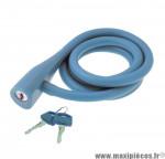 Déstockage ! Antivol vélo spirale silicone 135cmx10mm RMS Silicon Lock bleu