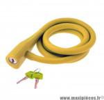 Déstockage ! Antivol vélo spirale silicone 135cmx10mm RMS Silicon Lock jaune