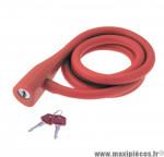 Déstockage ! Antivol vélo spirale silicone 135cmx10mm RMS Silicon Lock orange