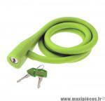 Déstockage ! Antivol vélo spirale silicone 135cmx10mm RMS Silicon Lock vert