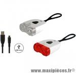 Prix discount ! Kit éclairage complet à led Union by Marwi lampe avant UN-150 + feu arrière UN-120 li-ion