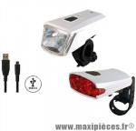 Prix discount ! Kit éclairage complet à led Union by Marwi lampe avant UN-170 + feu arrière UN-130 li-ion