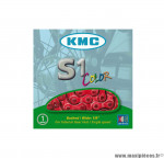Déstockage ! Chaine KMC S1 rouge 112 maillons 1/2