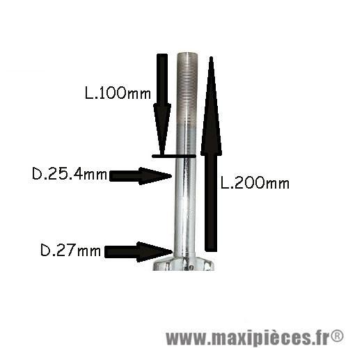 Fourche vtt 20 pouces acier chromée cintrée pivot fileté - int.21mm - ext.25.4mm (Pivot : 200/100mm) *Prix spécial !