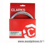 Déstockage ! Kit de gaine/câble dérailleur Clarks Pré-Lubrifié carbone argent universel